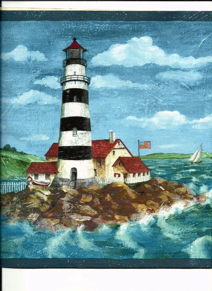 Lighthouse with Cabin East Coast Style Wallpaper Border 59 503 eBay 727x1000