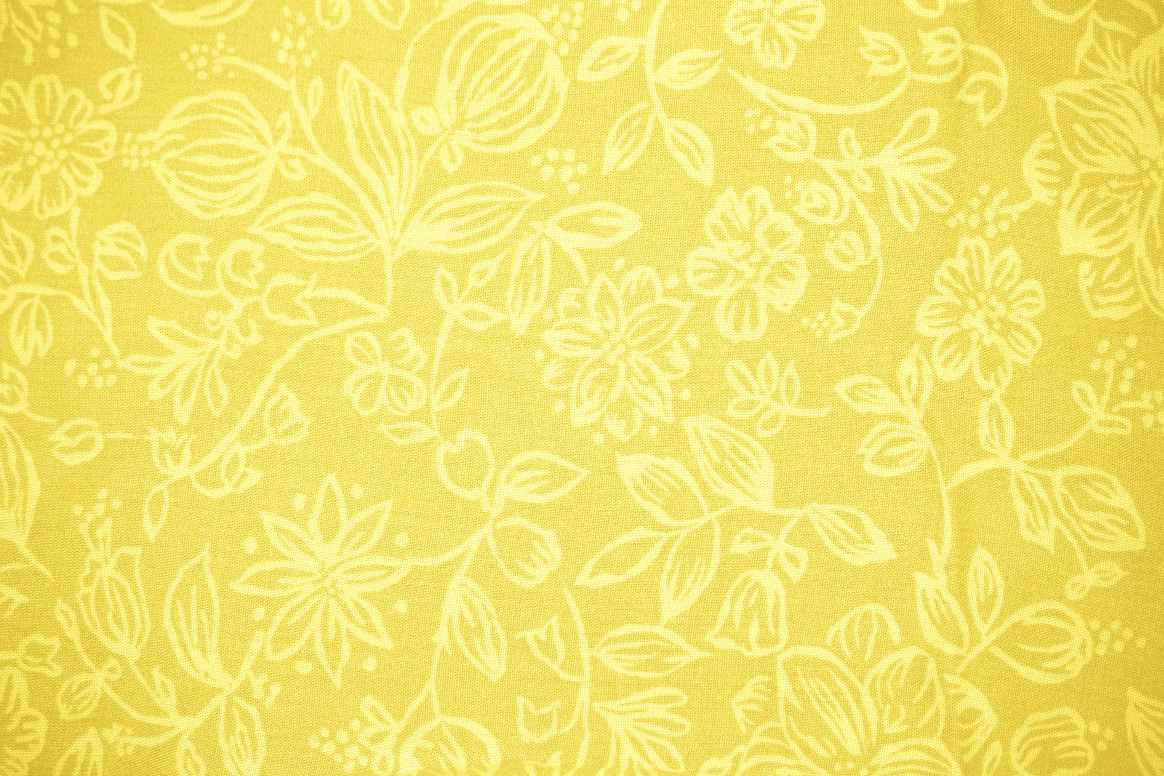 Free Download Yellow Fabric With Floral Pattern Texture High