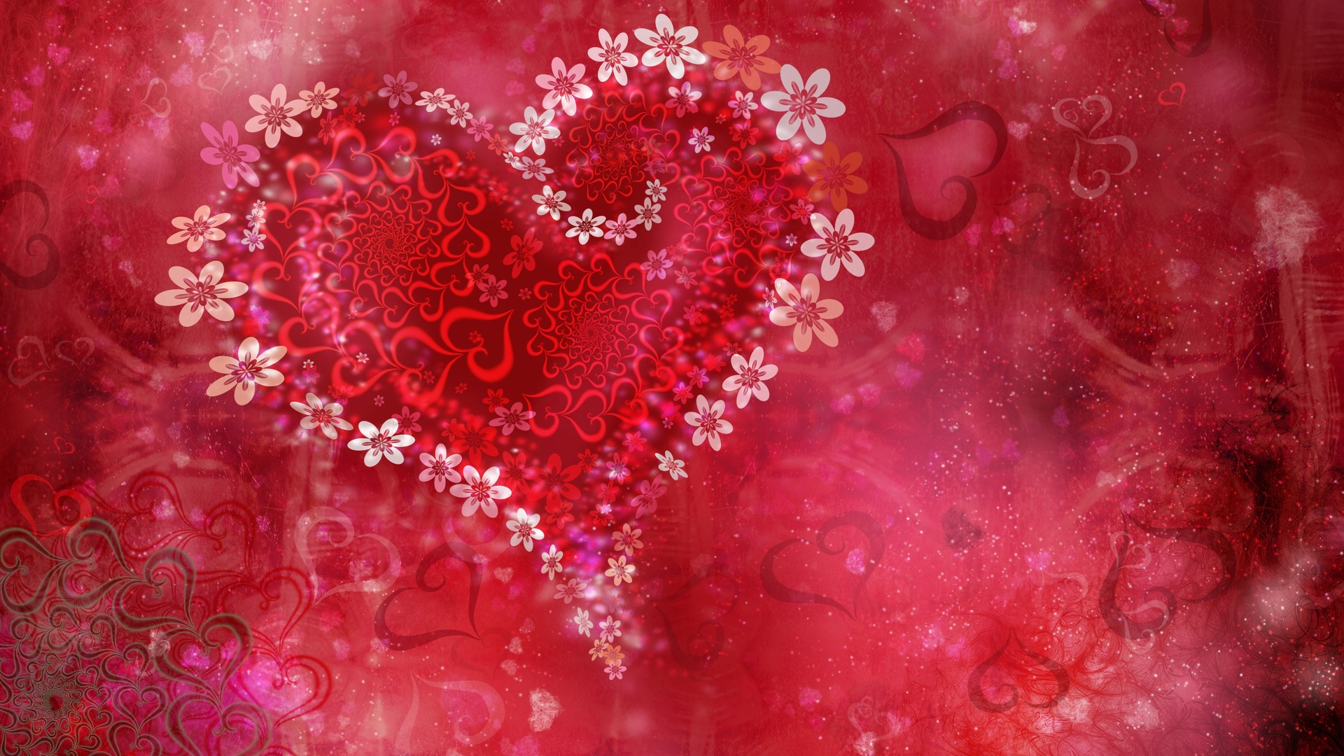 Love Heart Flowers HD Wallpaper Love Valentine Wallpapers 1920x1080