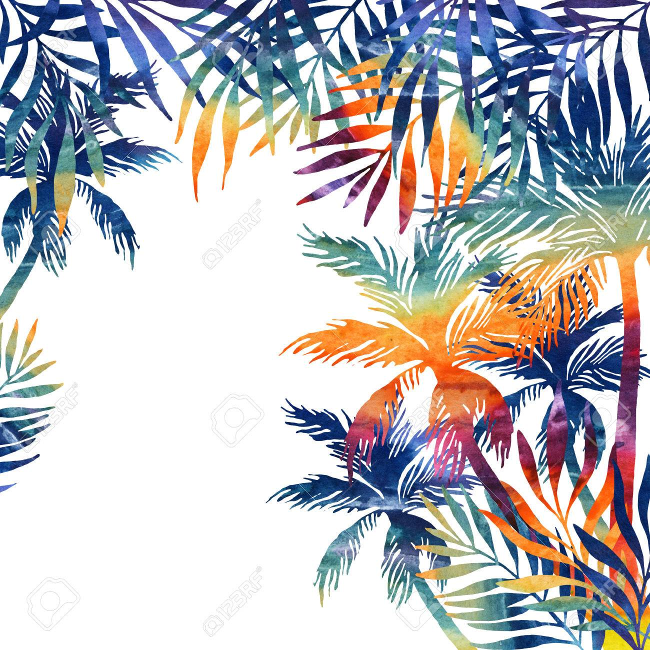 Watercolor Palm Trees On Black Background Tropical Background 1300x1300