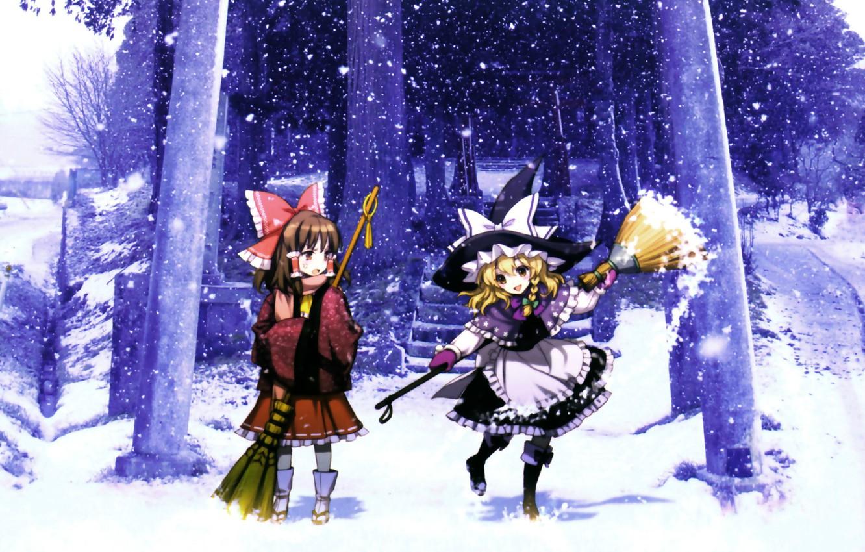 Wallpaper winter hat ladder broom snowfall touhou art an2a 1332x850