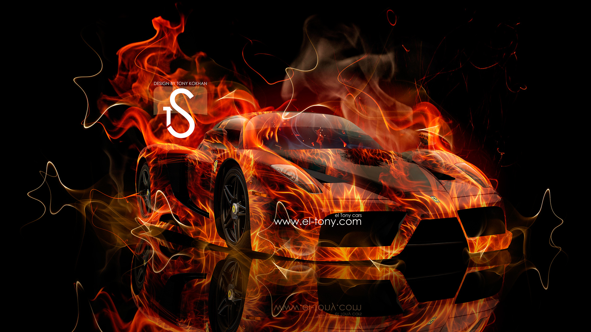 Ferrari Enzo Fire Car 2013 Abstract Smoke HD Wallpapers design by Tony 1920x1080