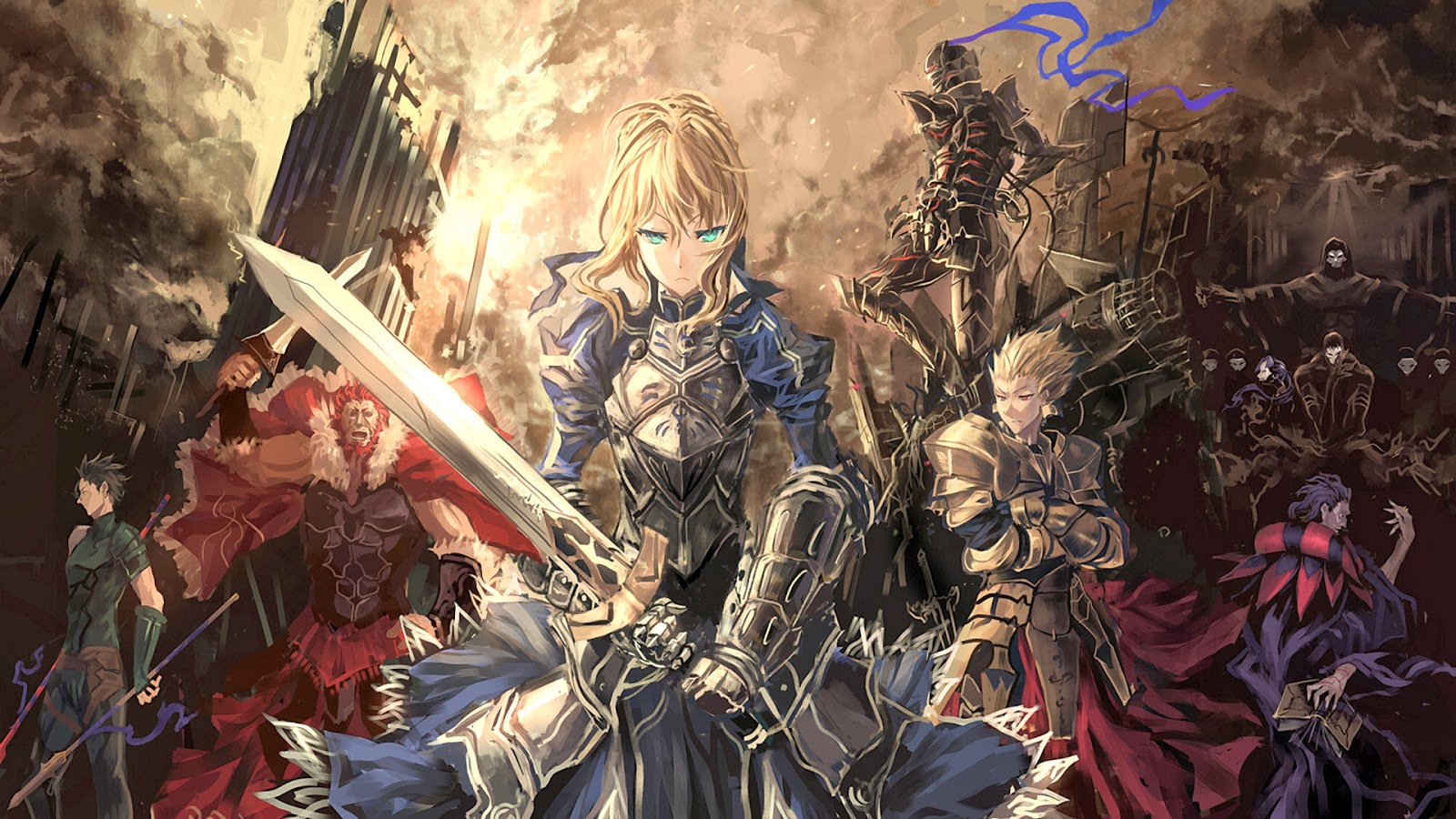 fate stay night wallpaper anime saber gilgames armor knight sword 1600x900