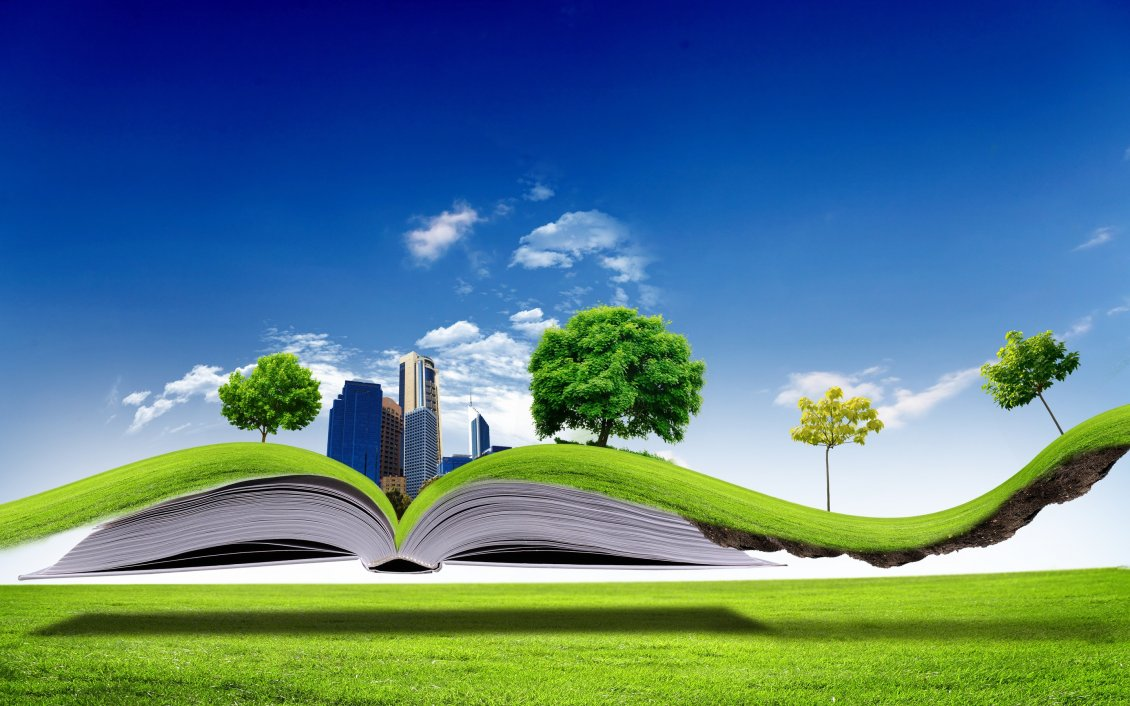 All nature in one book   3D wallpaper 1130x706