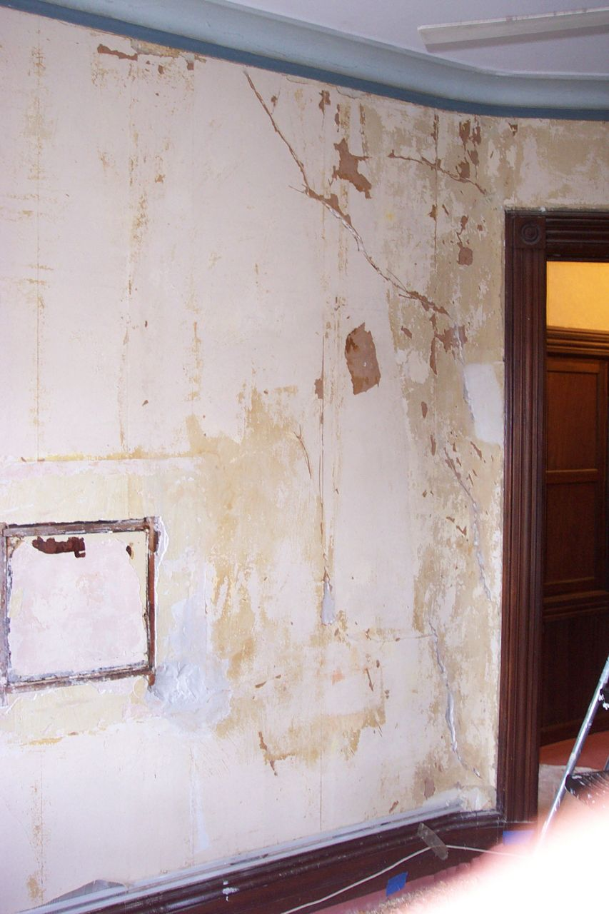 we found after removing the wallpaper of this brownstone plaster wall 853x1280