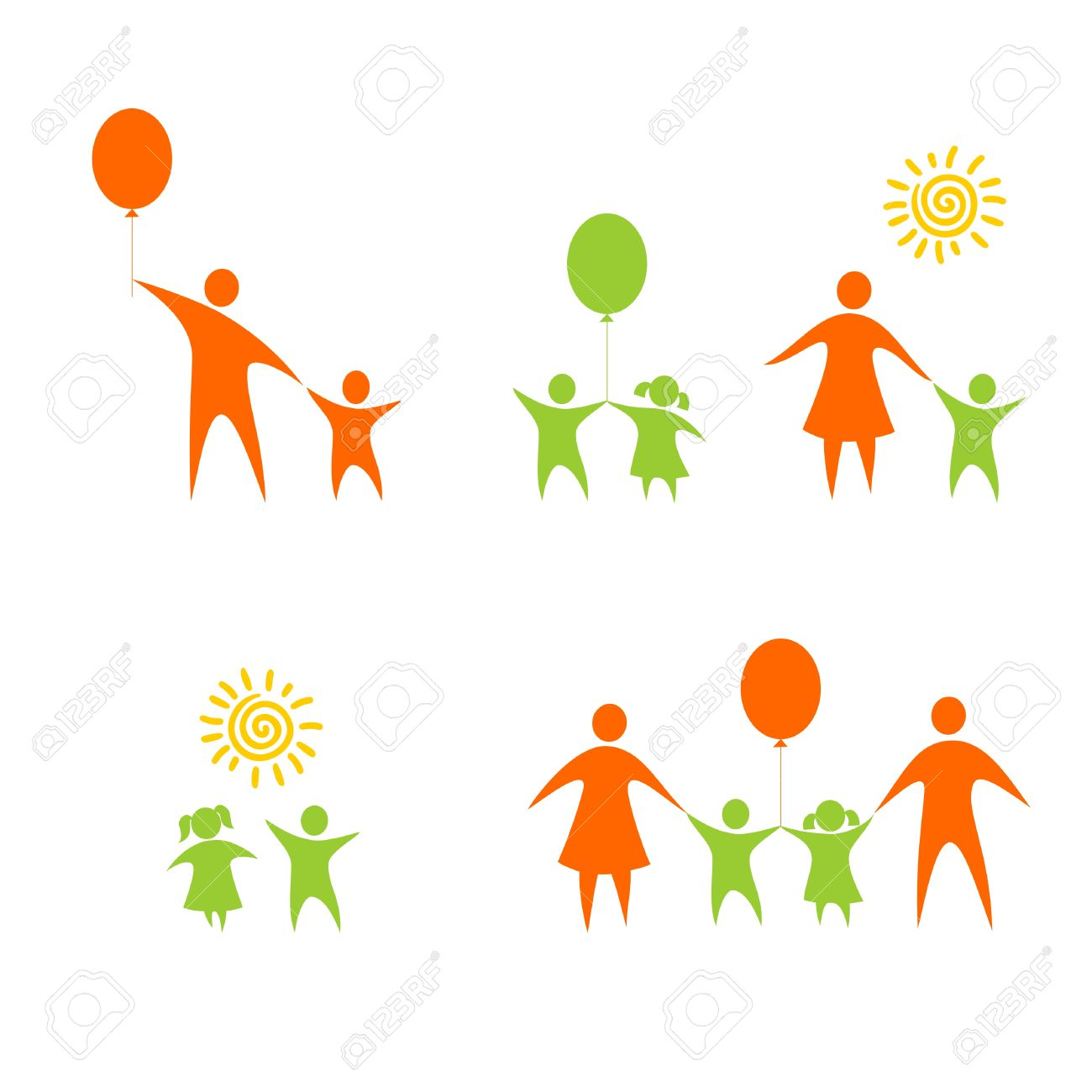 Figures Of Children And Parents On A White Background Royalty 1300x1300
