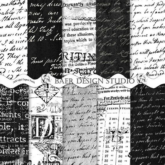 Digital PaperBlack and White Script Digital Paper Black and White 570x570