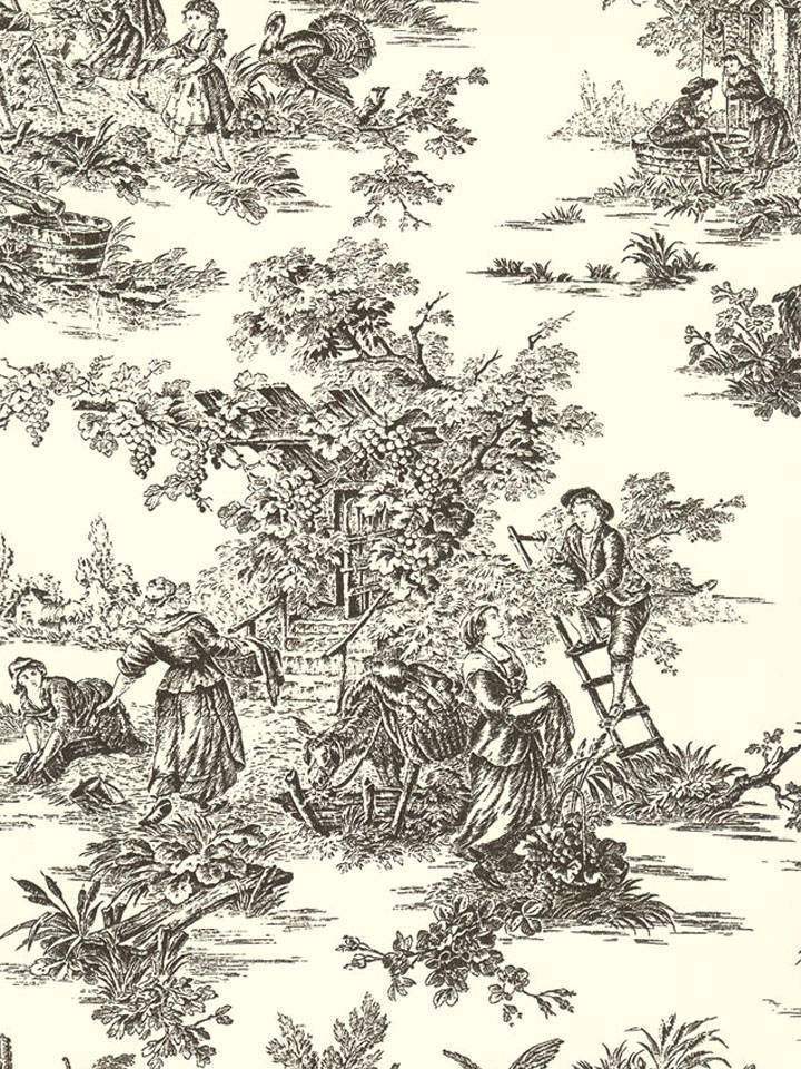 Wallpaper Classic French Country Life Toile Black on Off White 720x960