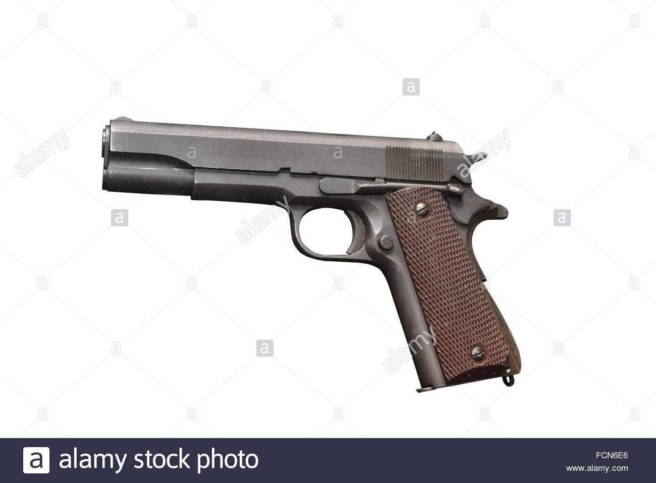 American gun Colt M1911 A1 on the white background and clipping 1300x956