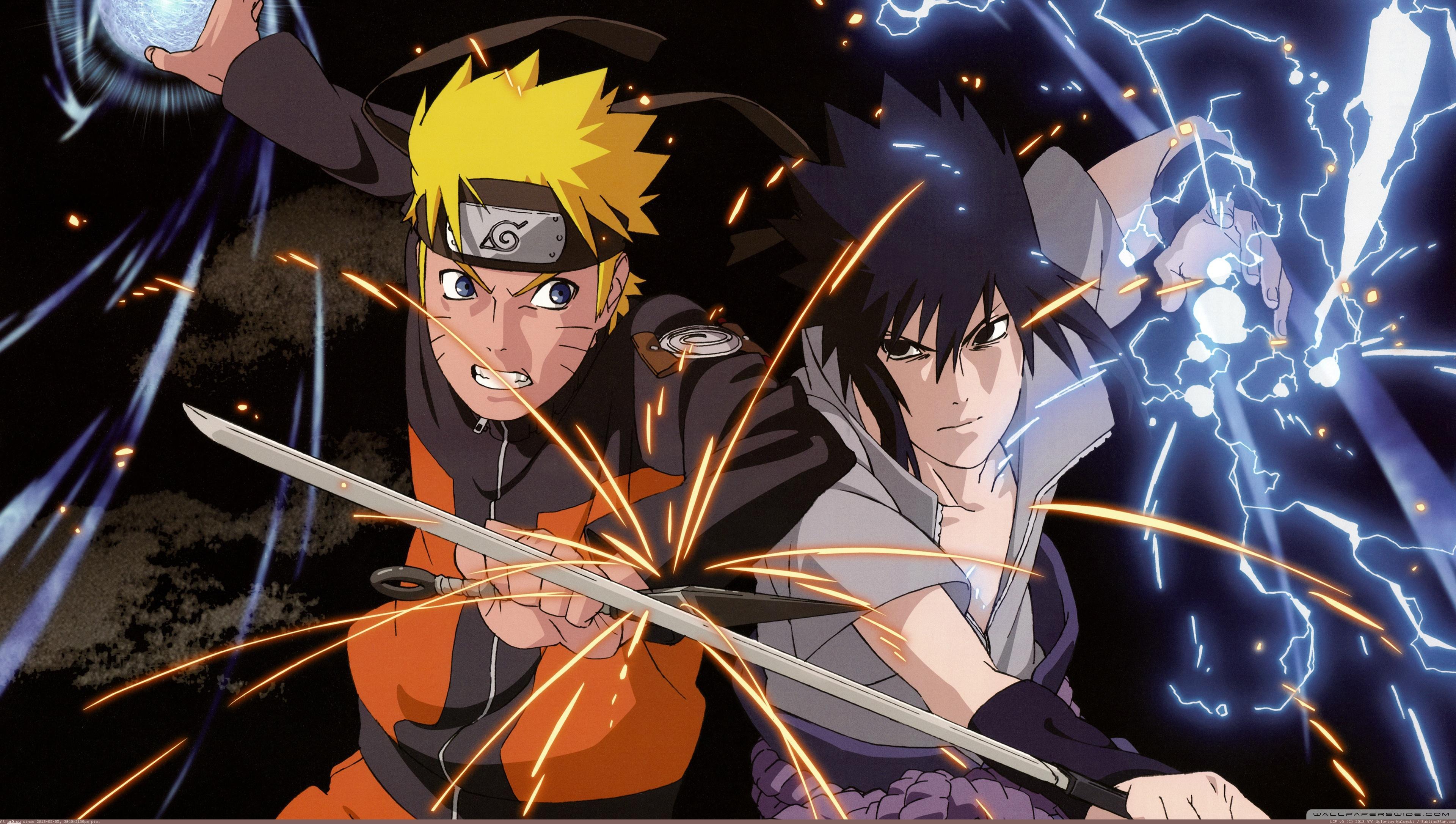art3D backgrounds Naruto Vs Sasuke Wallpaper 3840X2160 HD 3840x2172