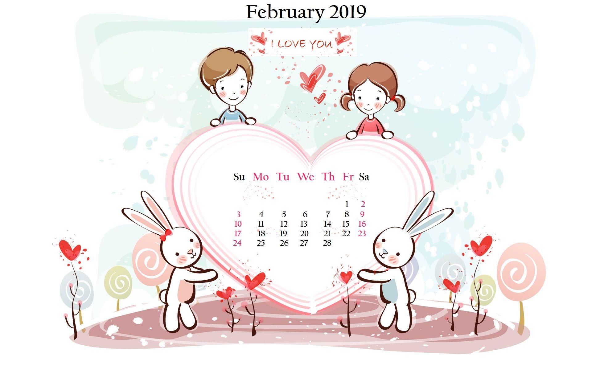 February 2019 Desktop Background Calendar in 2020 Cute love 1920x1200