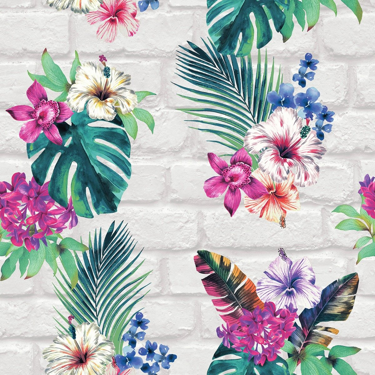 Camden Brick Floral Wallpaper Multi Light Grey Accessorize 274805 1200x1200