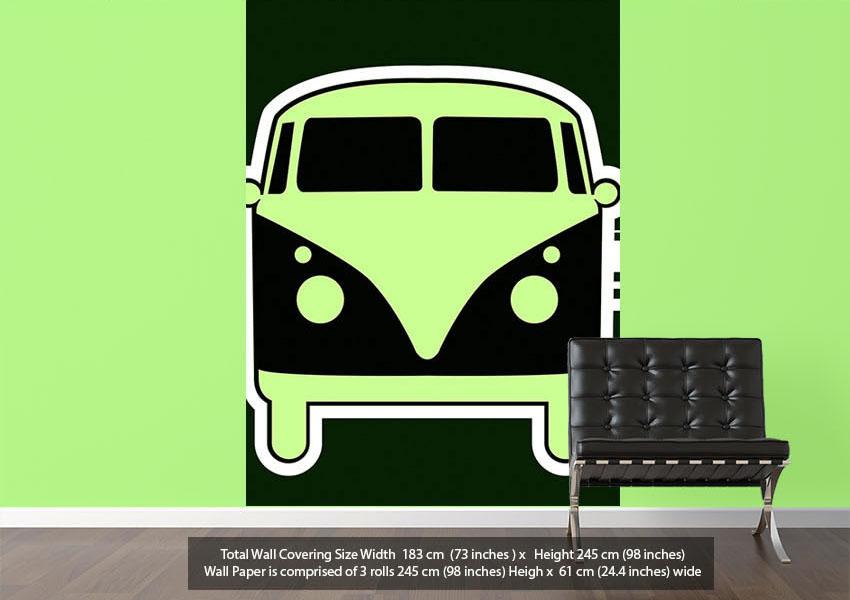 home wallpaper murals modern wallpaper modern green wallpaper retro vw 850x600