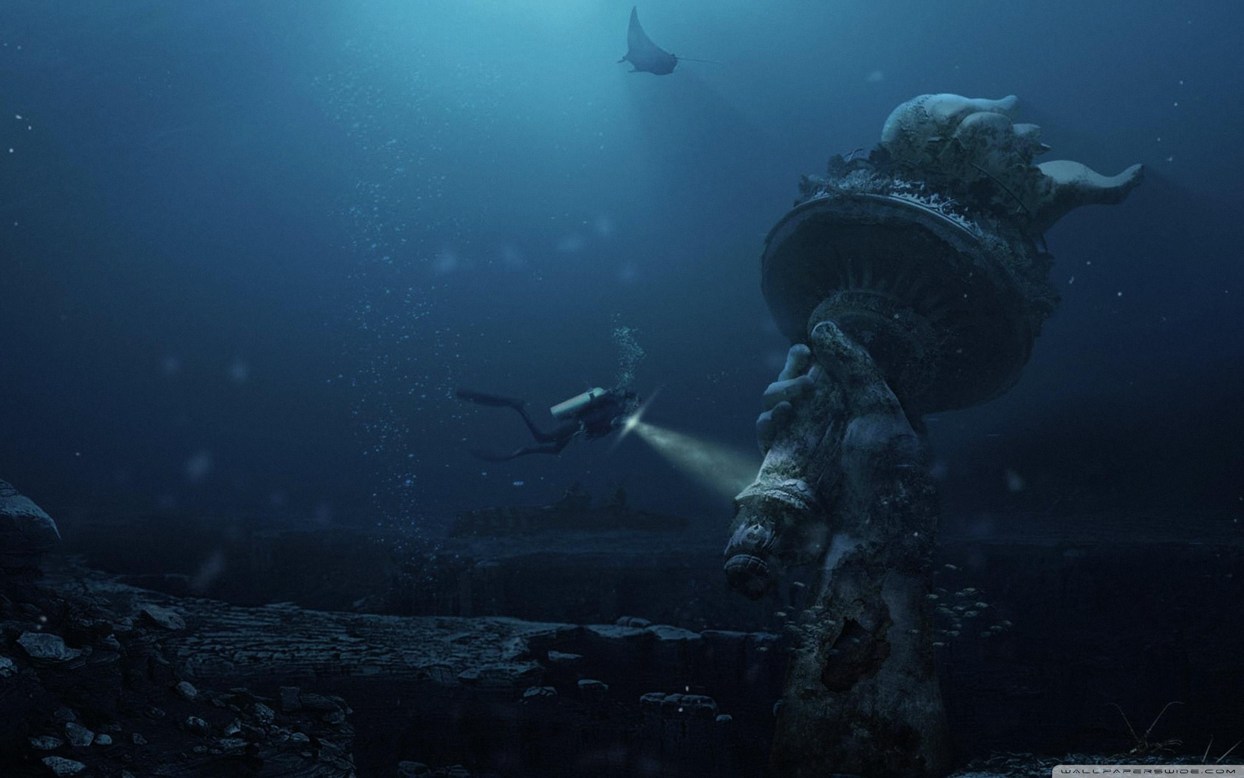 Underwater Ruins 4K HD Desktop Wallpaper for 4K Ultra HD TV 2560x1600