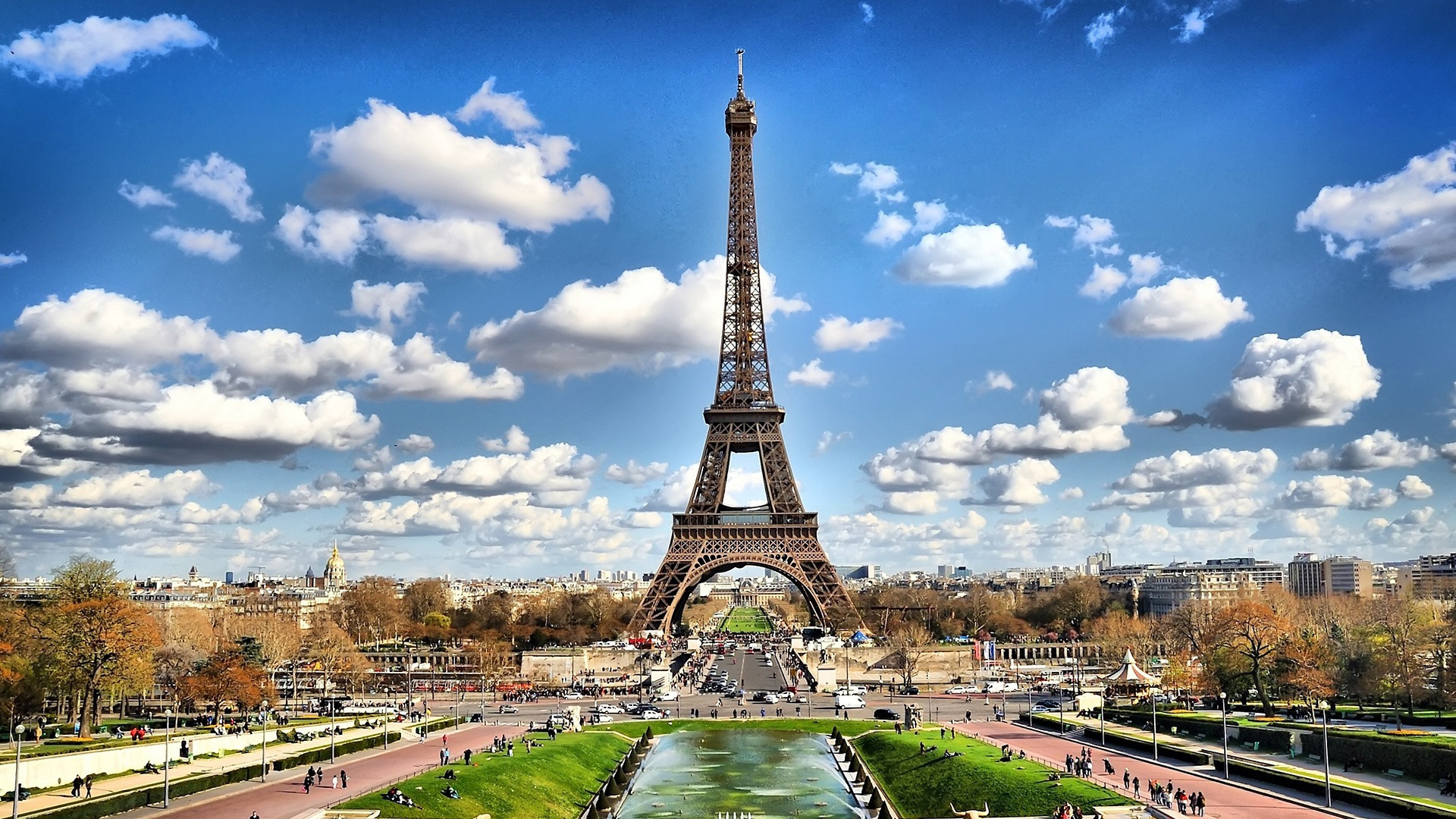 Eiffel tower on background of clouds in Paris France wallpapers and 1920x1080