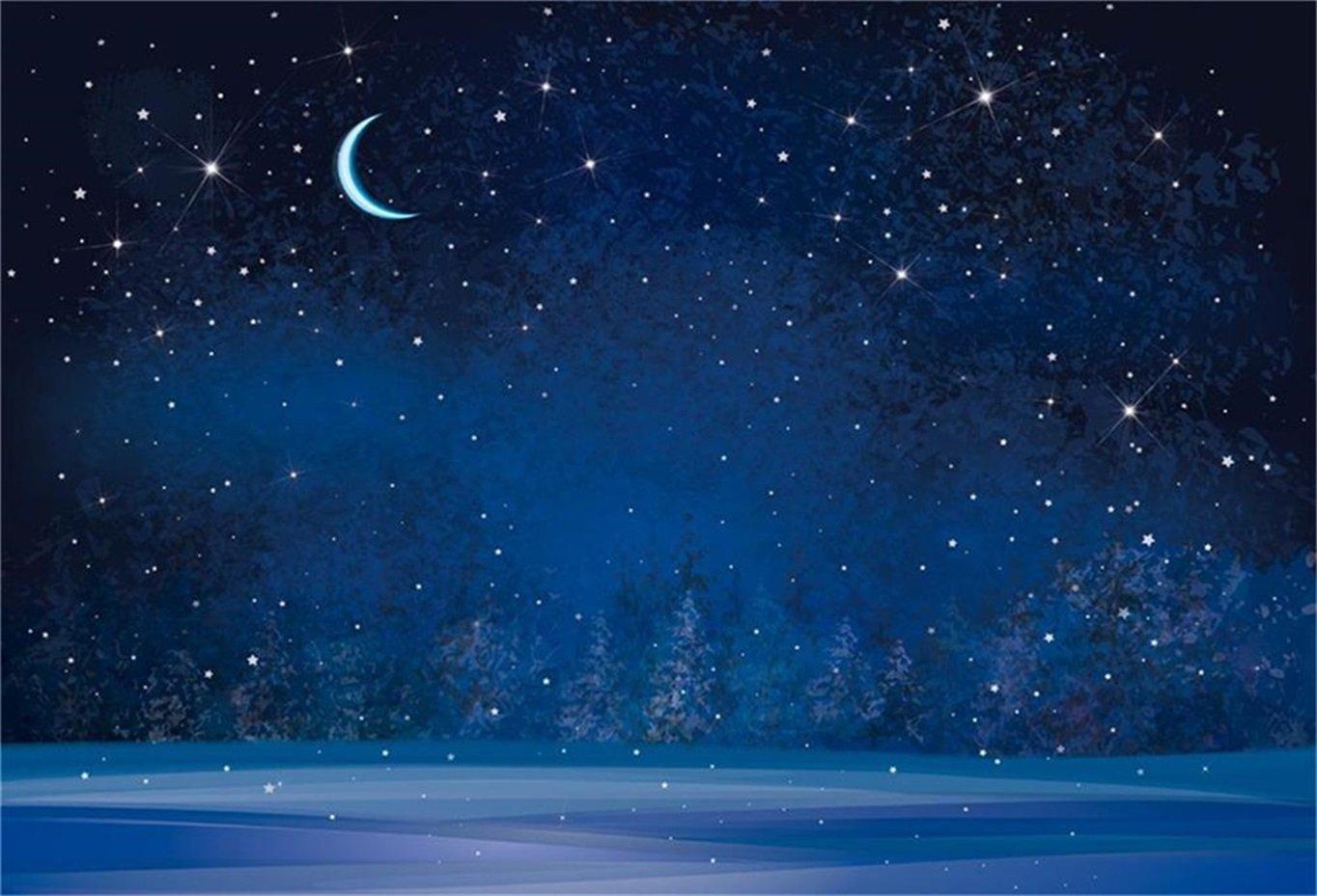 Amazoncom AOFOTO 7x5ft Dreamy Moon Night Fantasy Snowflake 1364x929
