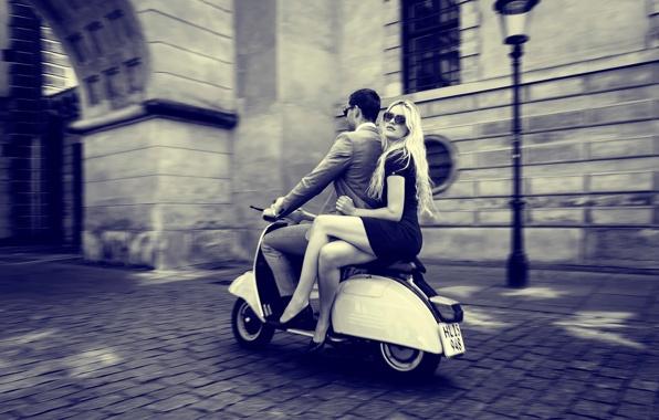 Wallpaper retro scooter vespa vintage city boy girl wallpapers 596x380