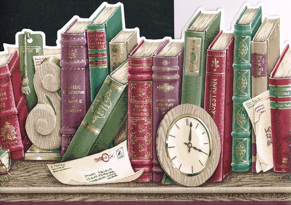 History Classic Book Shelf 10 1 2 Wallpaper Border Wall eBay 1000x705