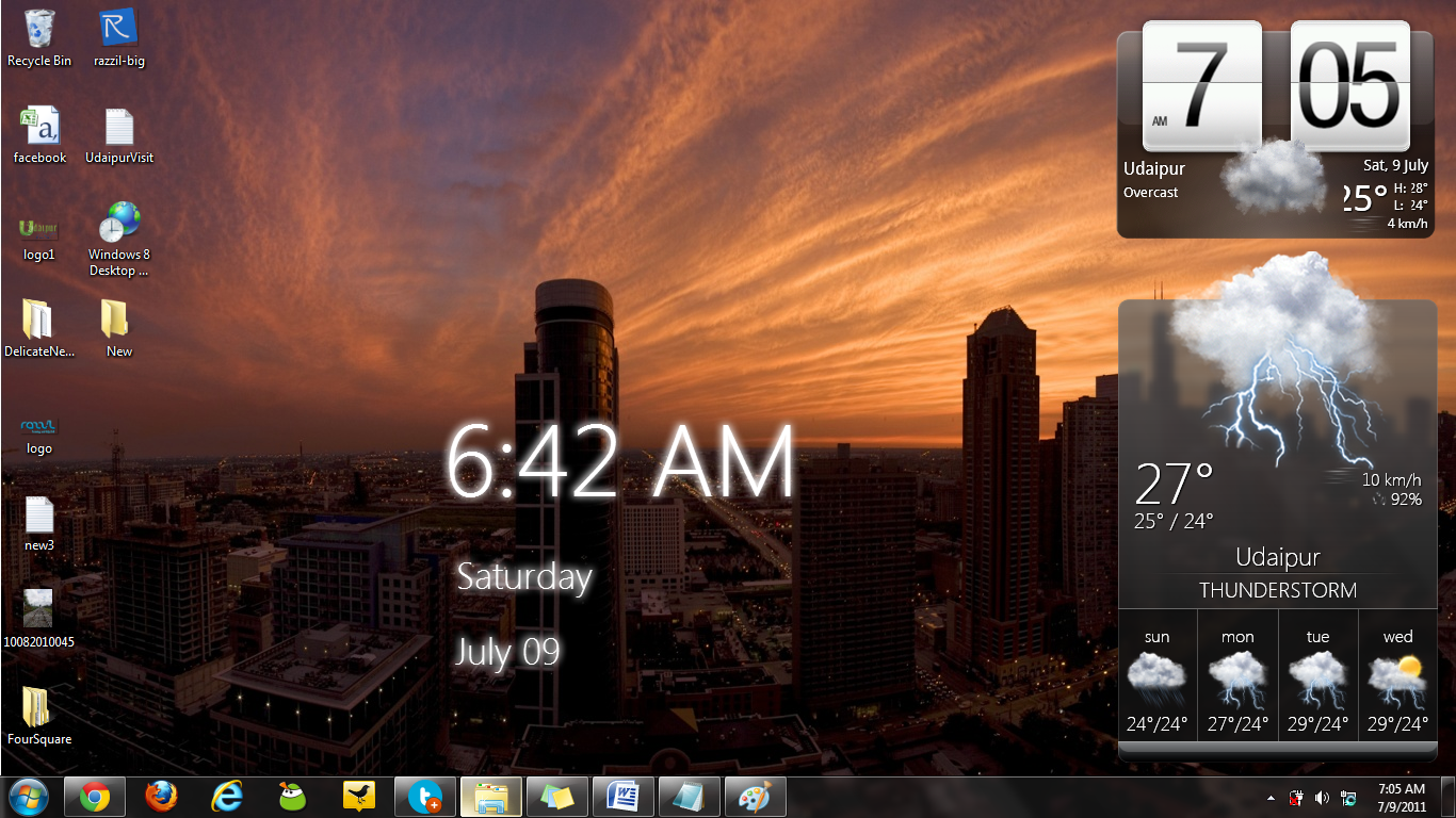 Desktop Wallpaper Clock Windows 7