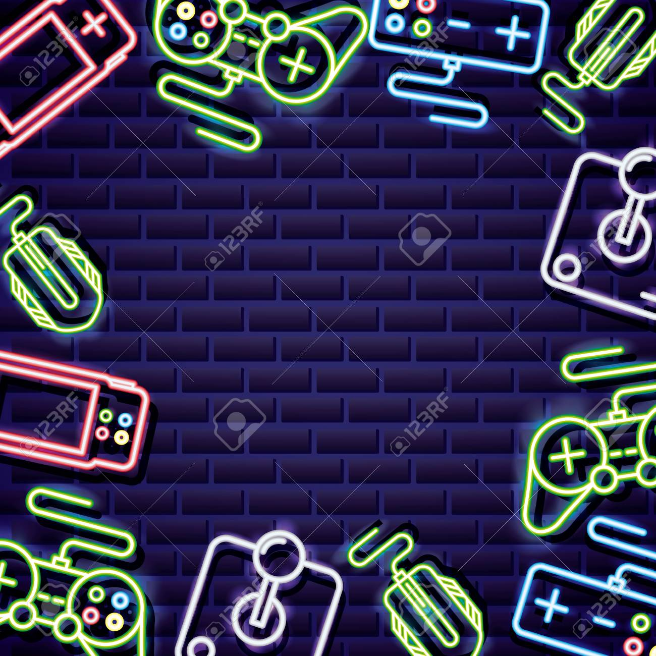 Video Games Controls Neon Background Vector Illustration Royalty 1300x1300