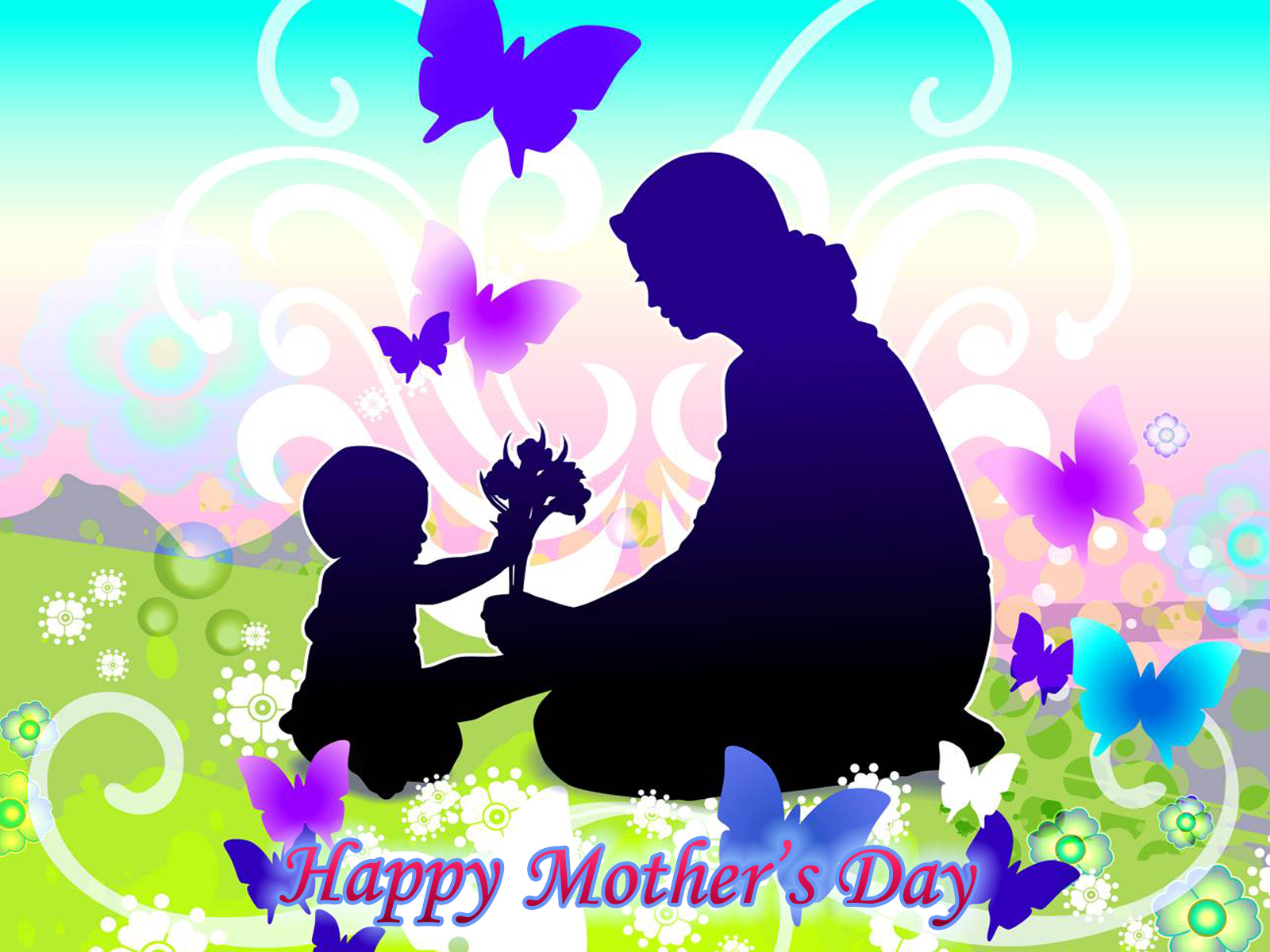 Happy Mothers Day computer desktop wallpaper 1600x1200