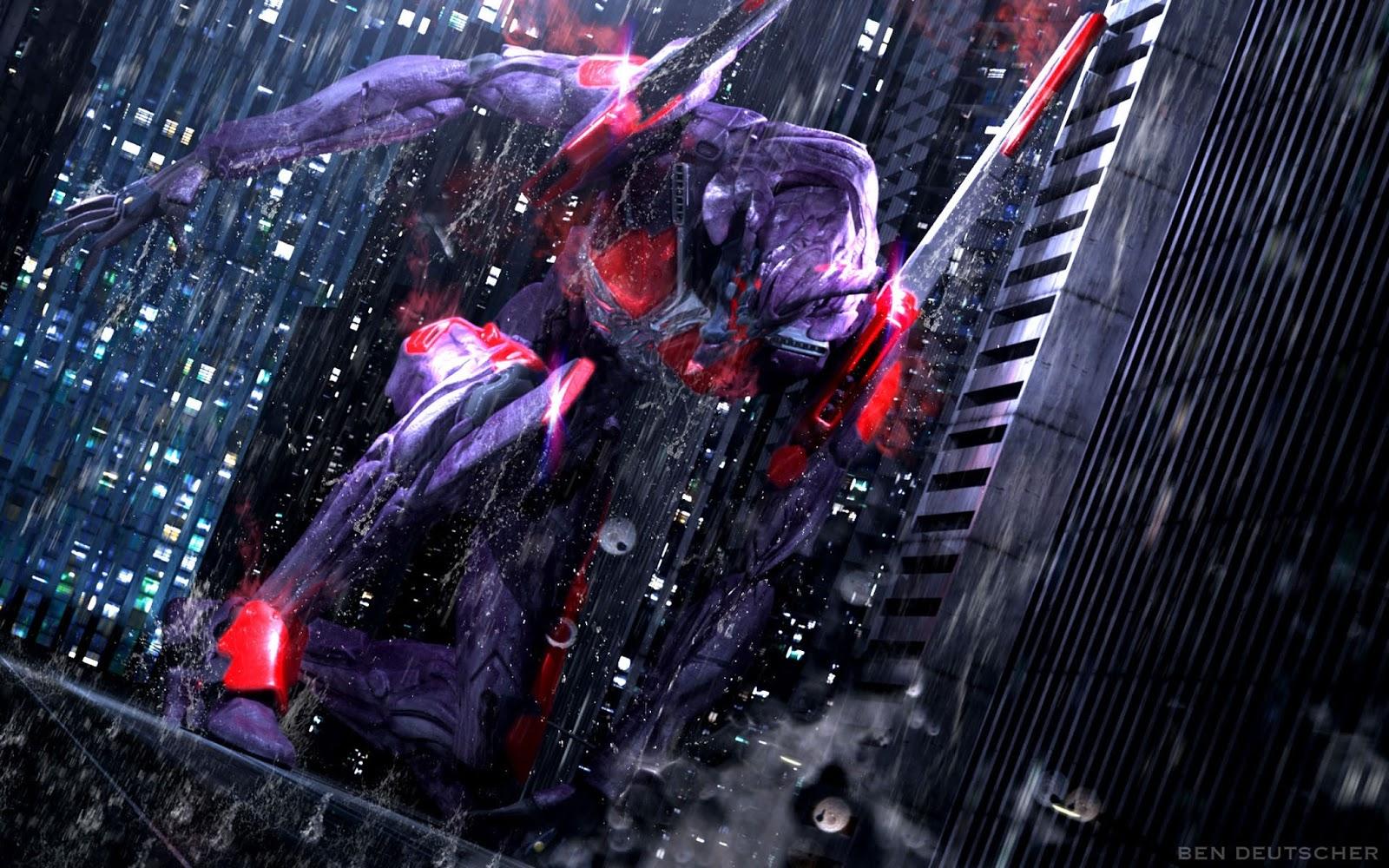 Neon Genesis Evangelion Anime Mecha Robot Buildings Raining HD 1600x1000