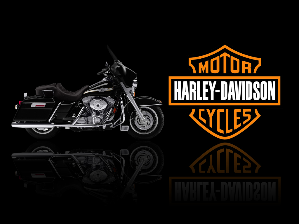 Harley Davidson Motorcycle and logo PC Desktop HD Wallpaper   HD 1024x768