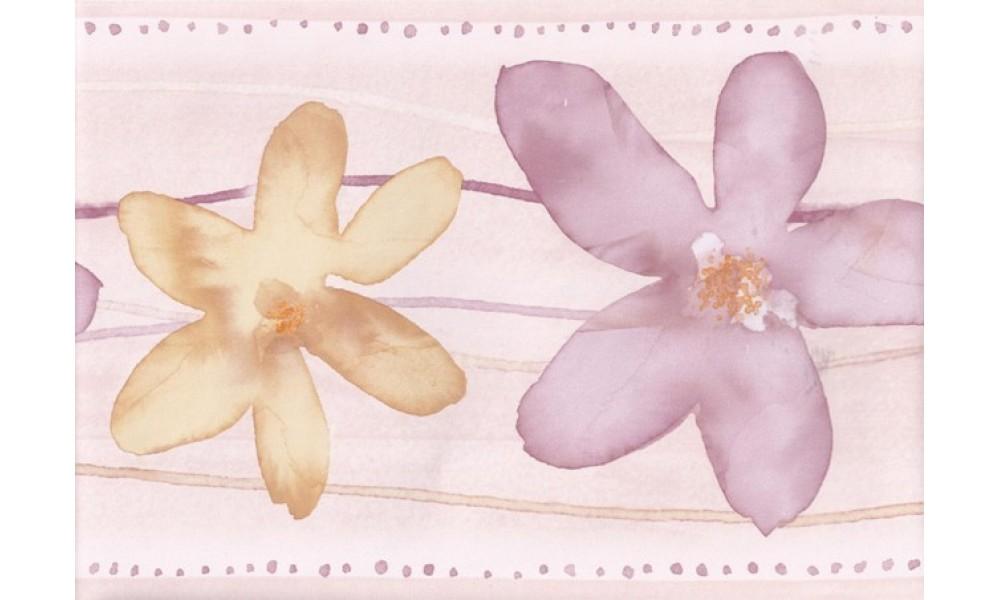 Home Purple Yellow Watercolor Flowers Wallpaper Border 1000x600