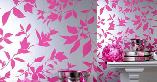 Midsummer Pink and Silver metallic modern floral wallpaper 513x269