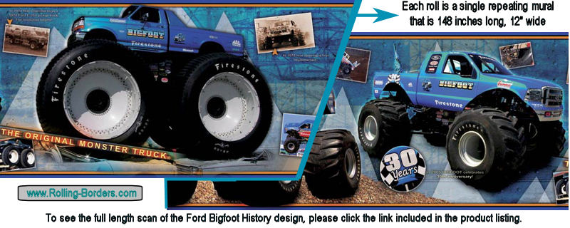 Bigfoot Monster Truck History Wallpaper Border 800x320