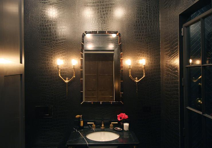 bathroom faux croc wallpaper black marble top washstand black doorjpg 740x518
