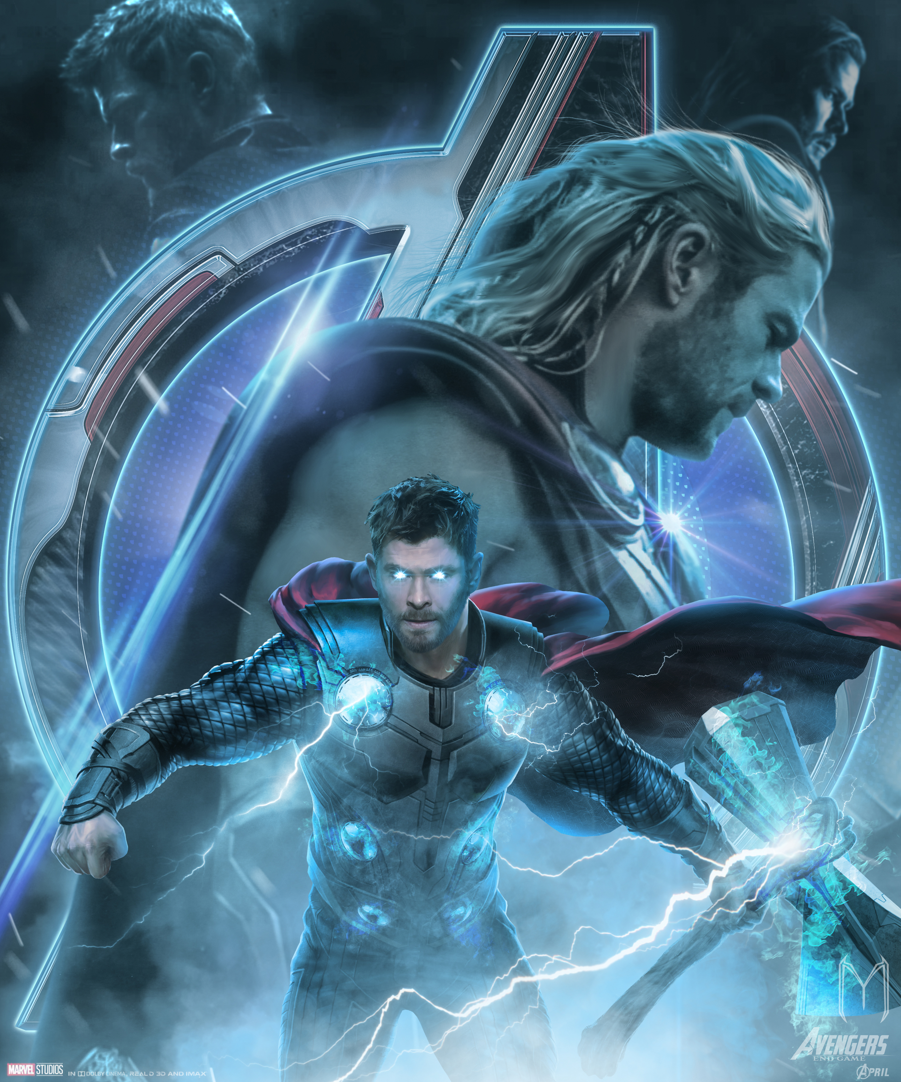 Avengers Endgame Thor Poster Artwork Wallpaper HD Movies 4K 3000x3600