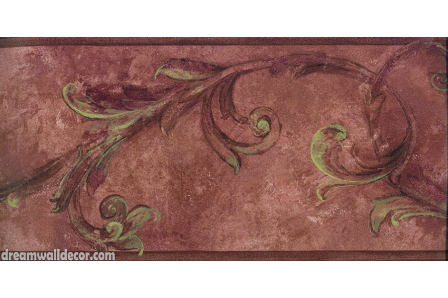 Maroon Brown Vintage Floral Wallpaper Border 900x600