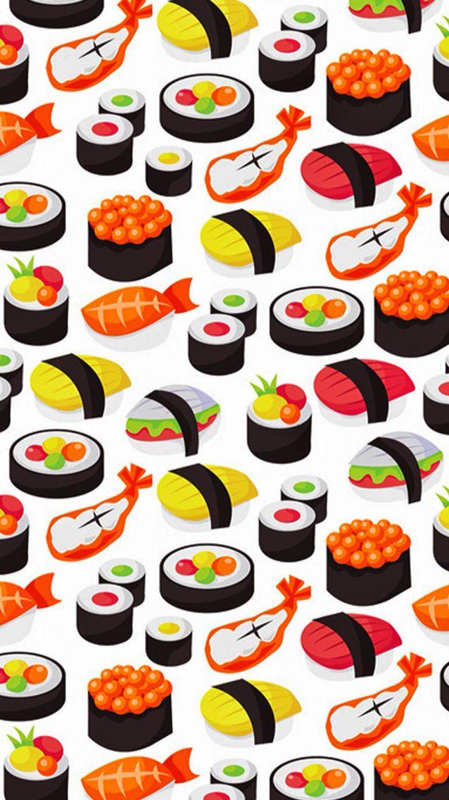 Sushis wallpaper for iPhone El arte de sushi Sushi dibujo 638x1136