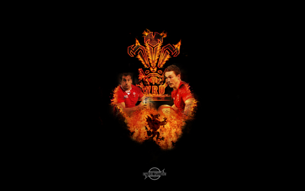 Wales rugby union fire wallpaper Featuring George North and Sam 600x375