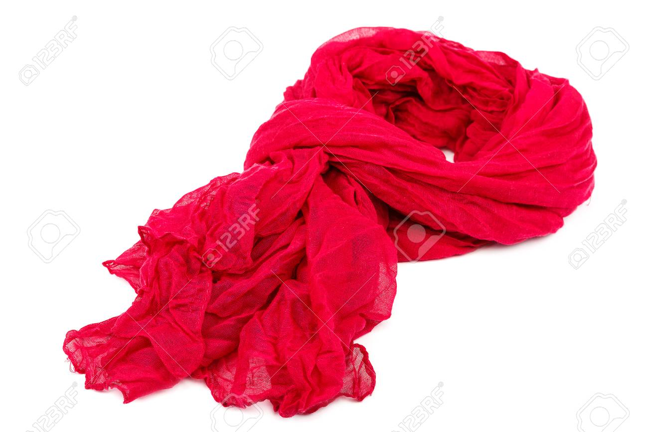 Red Womens Scarf Or Shawl Isolated On White Background Stock 1300x866