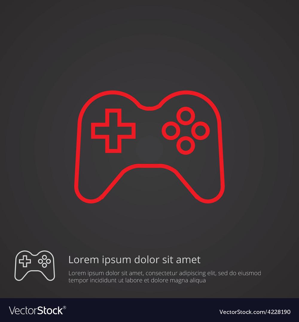 Joystick outline symbol red on dark background Vector Image 1000x1080