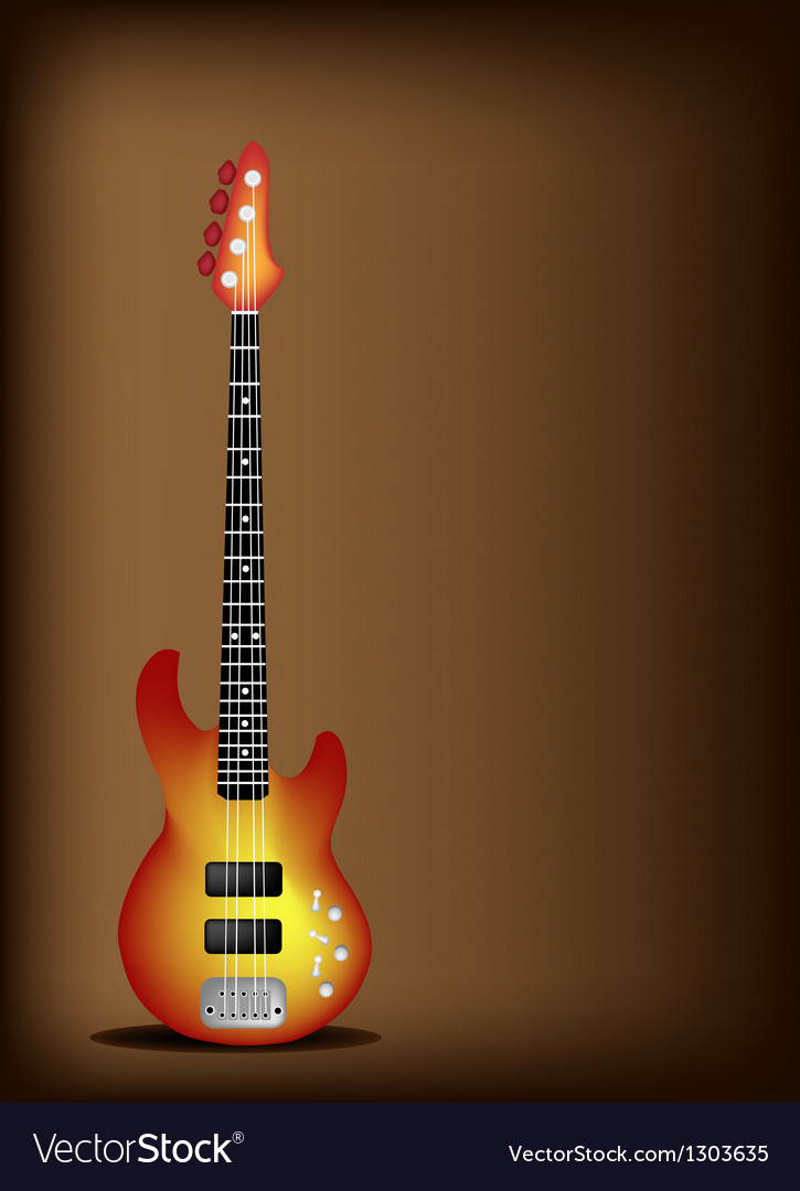 Red Electric Guitar on Dark Brown Background Vector Image 725x1080