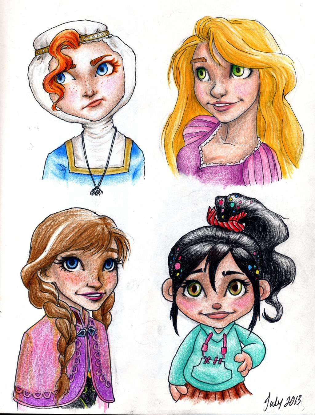 Modern Disney Princesses by meabhdeloughry 1024x1348
