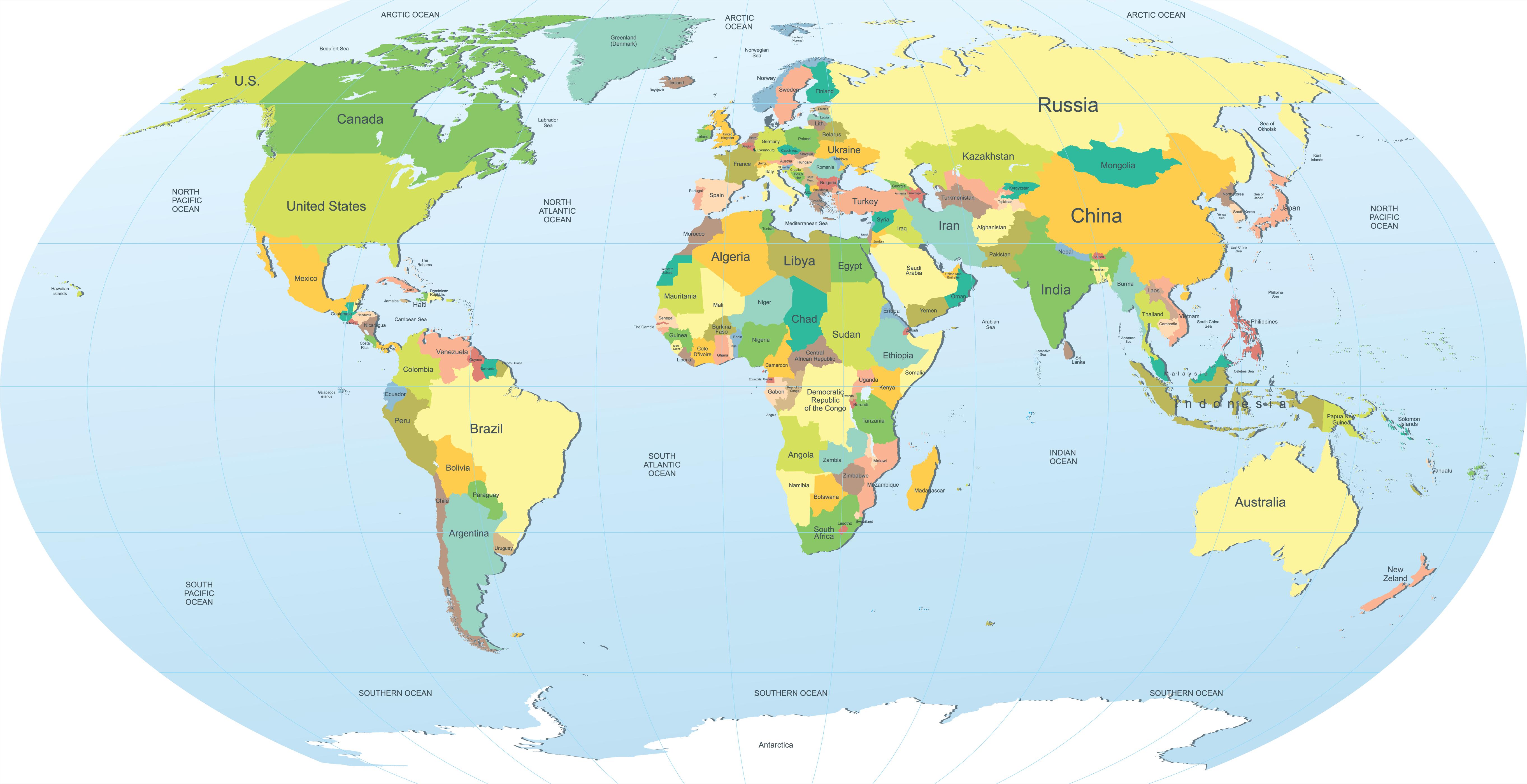 World Map 1 Wallpaper 5451x2800