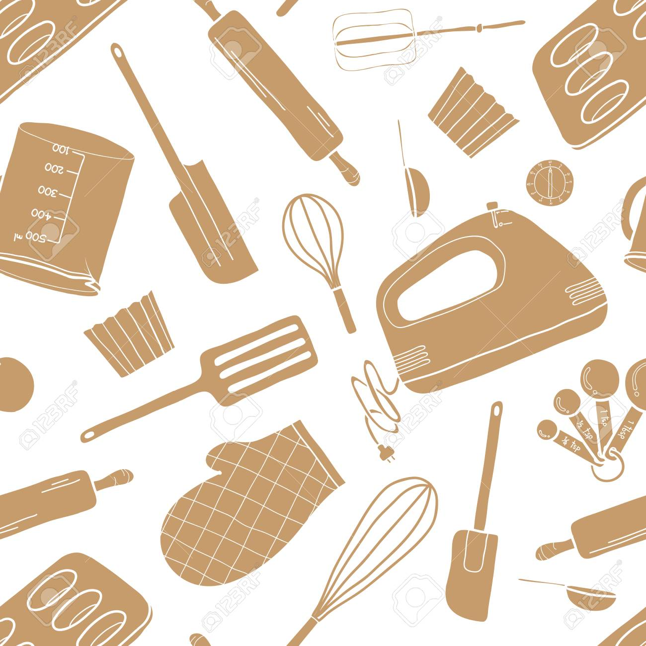 Seamless Pattern Of Baking Tools In Brown Silhouette Random On 1300x1300