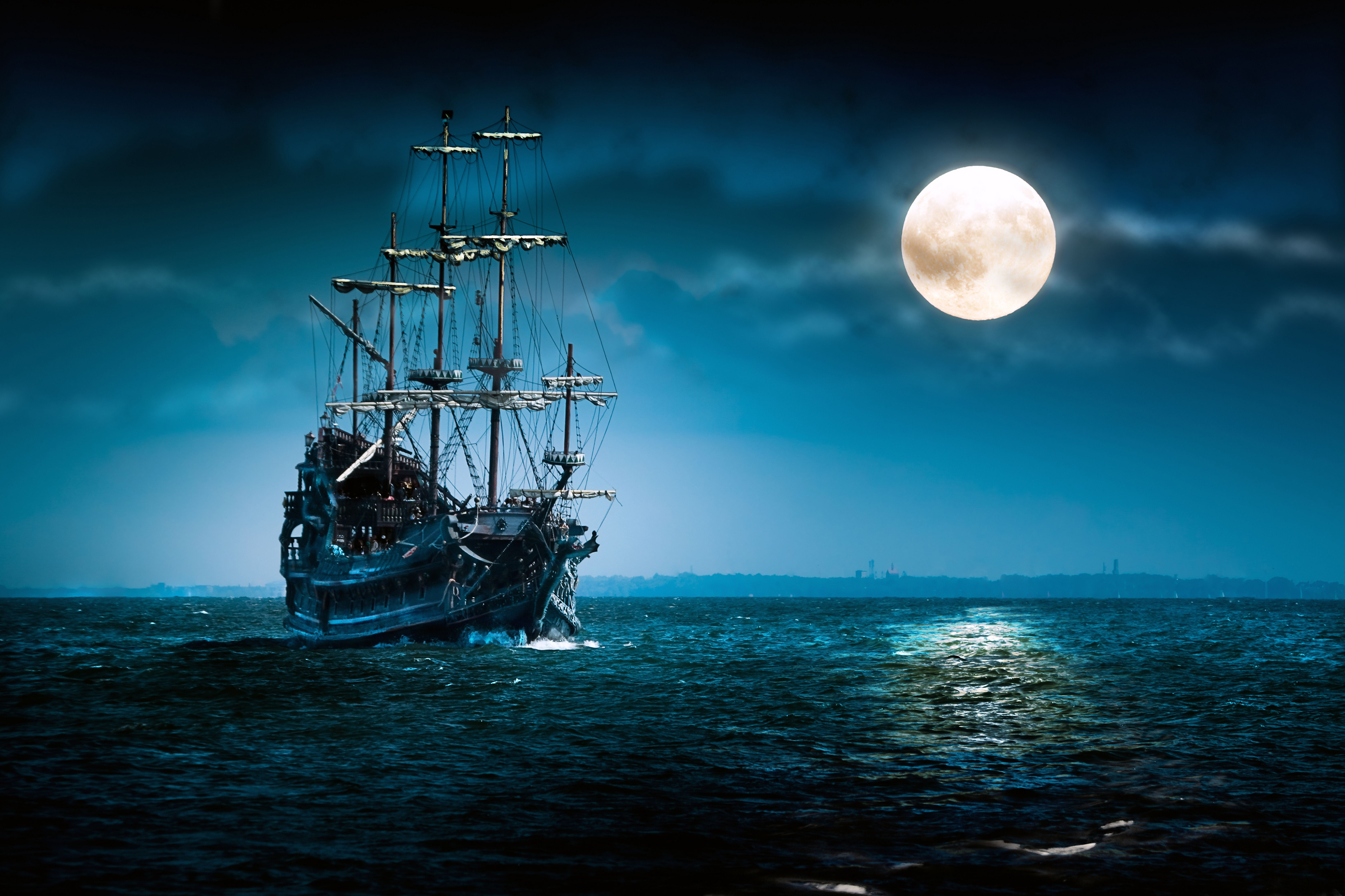 Ships at Night Wallpapers   Top Ships at Night Backgrounds 7500x5000