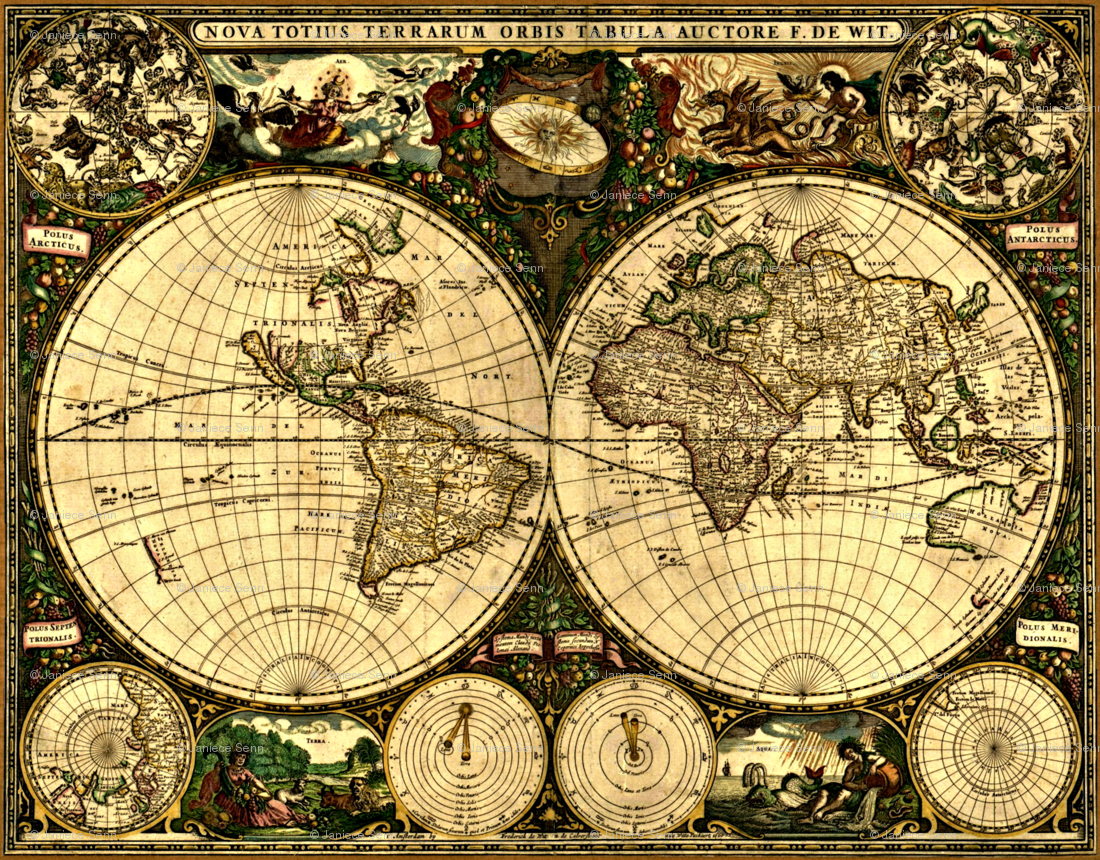 Antique World Map Wall...