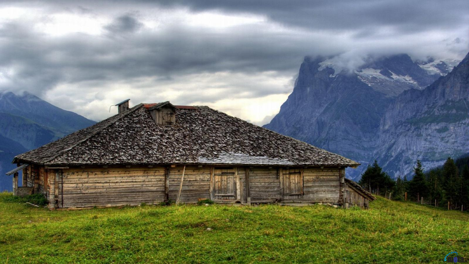 Wallpaper Old house in the mountains 1600 x 900 widescreen Desktop 1600x900