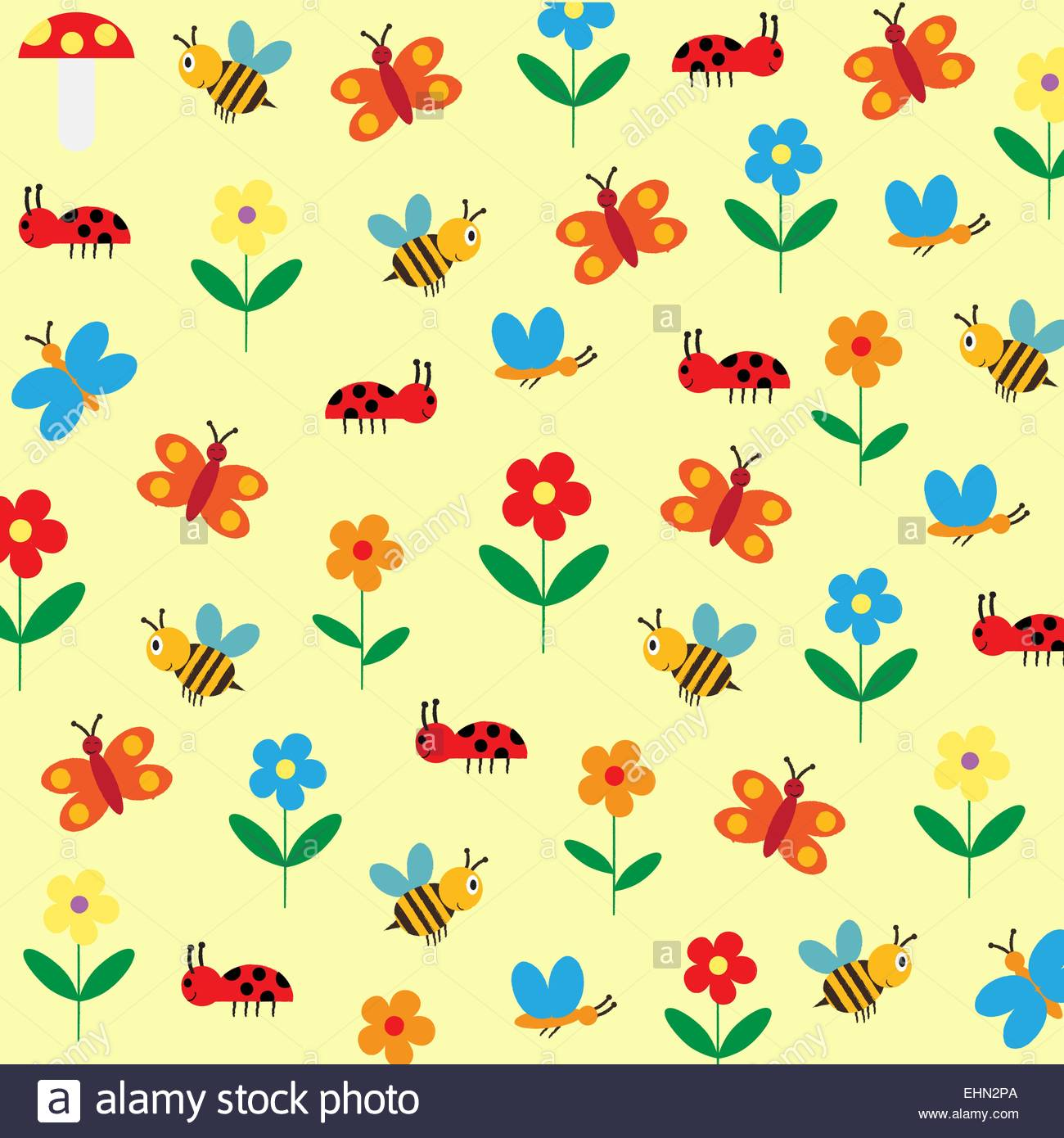 Colorful and cute kids background with flowers bee and butterfly 1300x1390