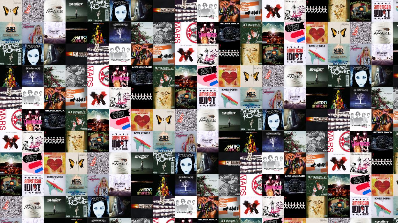 Create tiled desktop wallpapers with album art video game and dvd 1366x768