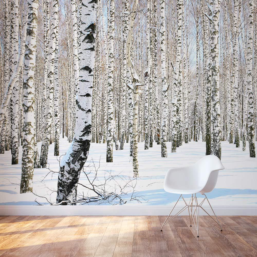 Birch Trees in Winter Wallpaper Winter Birch Trees Wall Mural 1000x1000
