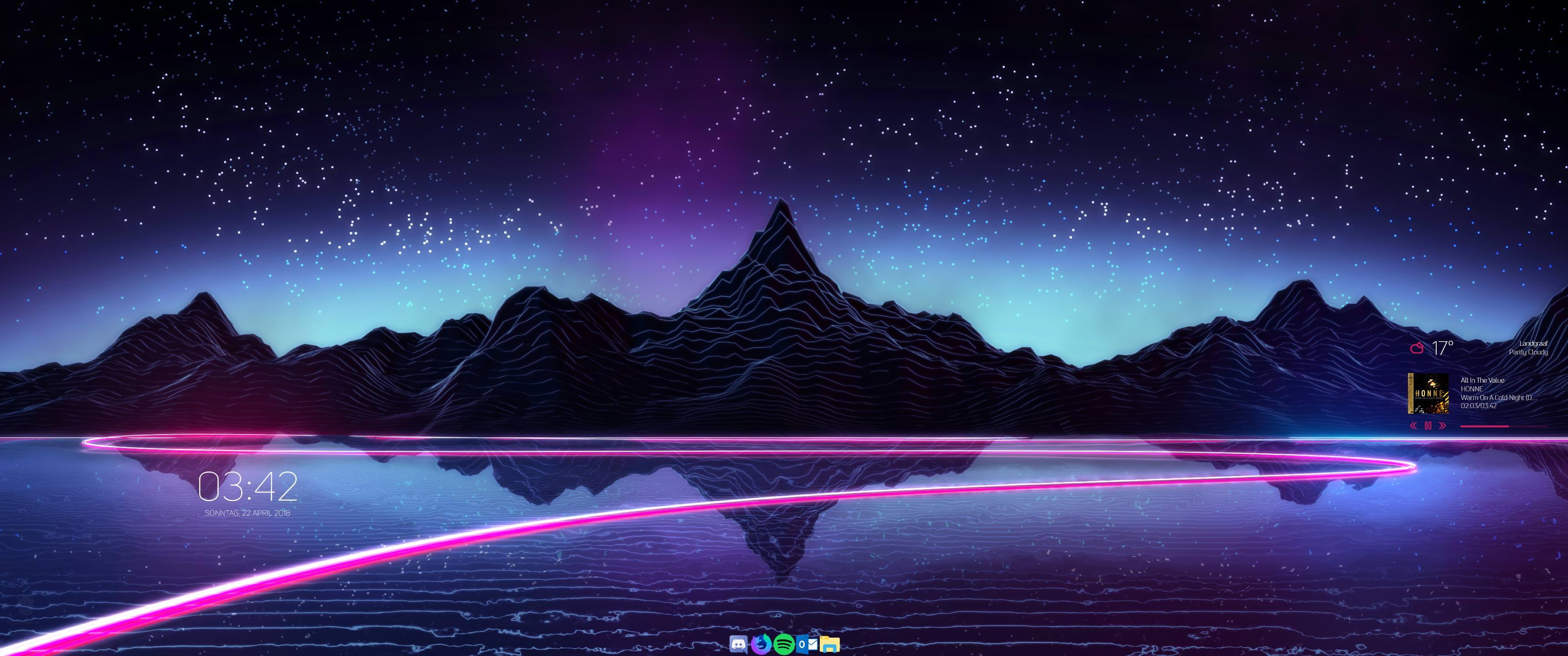 My minimalistic Desktop Setup after getting a new ultrawide Screen 3440x1440