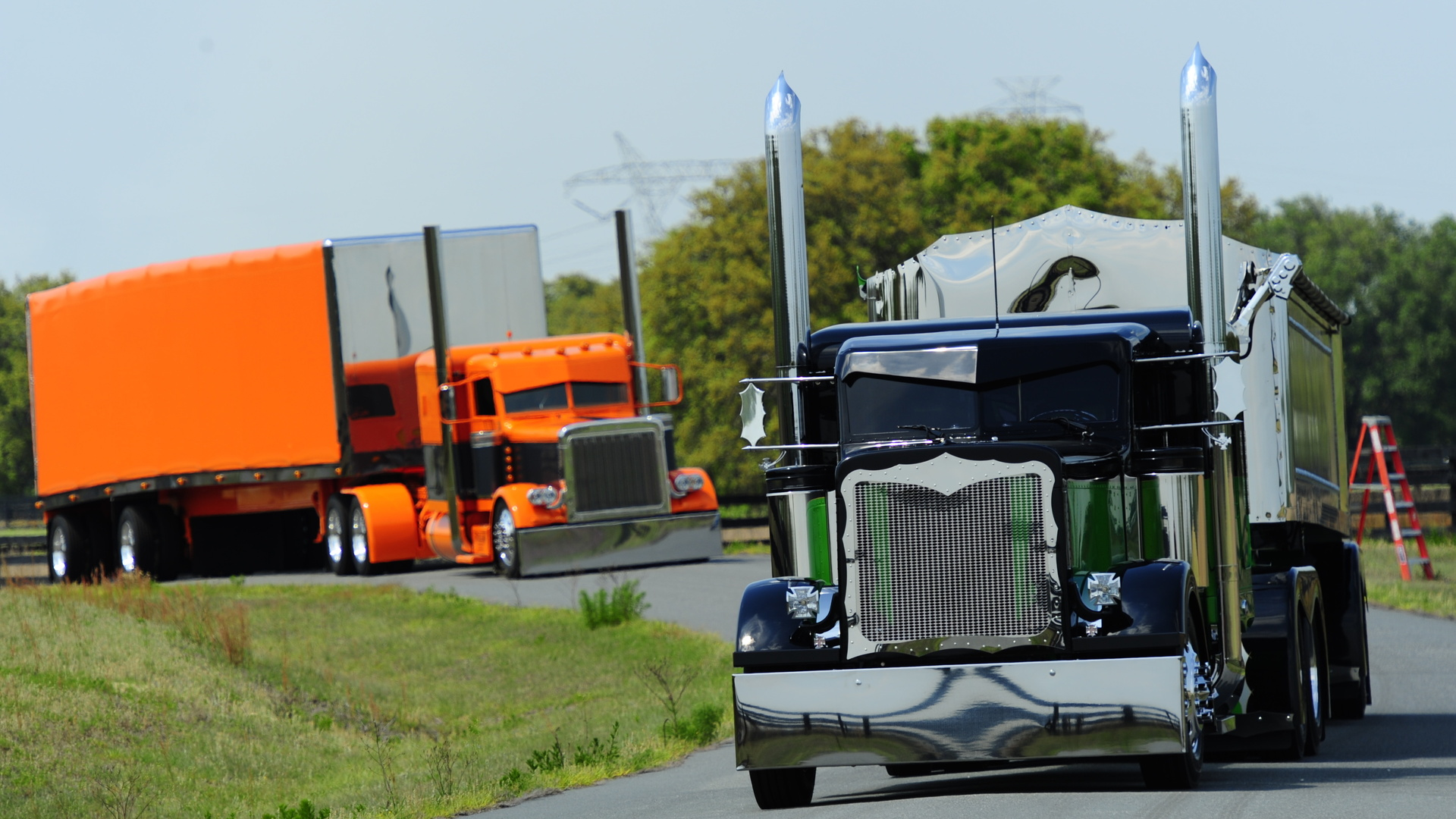 big rigs tractor trailer custom tuning semi roads wallpaper background 1920x1080