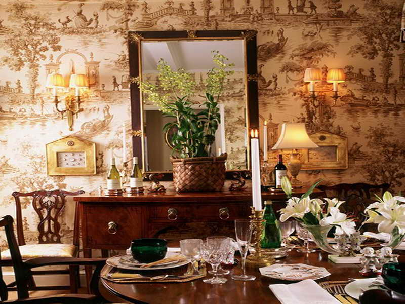 Dining Room Wallpaper Design Ideas with Candle Decoration 800x600